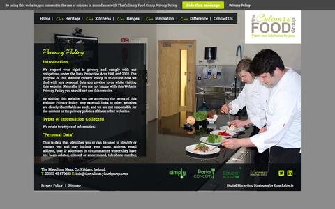 Screenshot of Privacy Page theculinaryfoodgroup.com - Food Suppliers - Privacy Policy - The Culinary Food Group - captured Oct. 25, 2014