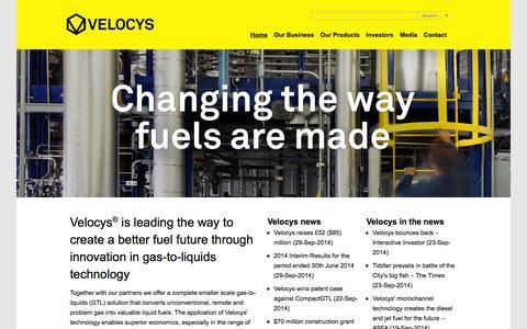 Screenshot of Home Page velocys.com - Velocys - captured Sept. 30, 2014
