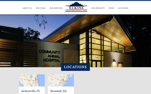 Screenshot of Contact Page Locations Page elkinsllc.com - Elkins Construction - captured Jan. 28, 2016