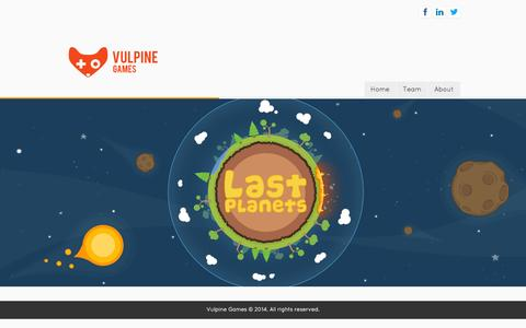 Screenshot of Home Page vulpinegames.com captured Oct. 7, 2014