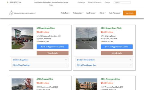 Screenshot of Locations Page apmhealth.com - Locations - Advanced Pain Management - captured Dec. 18, 2018