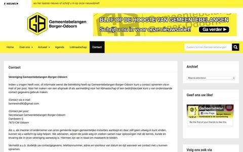 Screenshot of Contact Page gemeentebelangen-borger-odoorn.nl - Contact - Gemeentebelangen Borger-Odoorn - captured Nov. 4, 2018