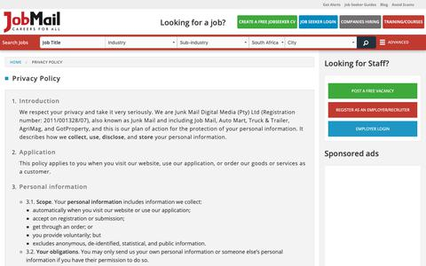 Screenshot of Privacy Page jobmail.co.za - Privacy Policy | Job Mail - captured May 17, 2019