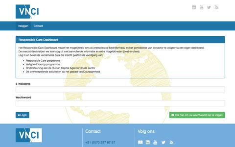 Screenshot of Login Page vnci.nl - VNCI Dashboard - captured Nov. 14, 2017