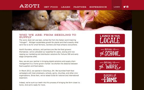 Screenshot of About Page azoti.com - Supply Chain Management | Local Food Production | Local Foods - captured Oct. 4, 2014