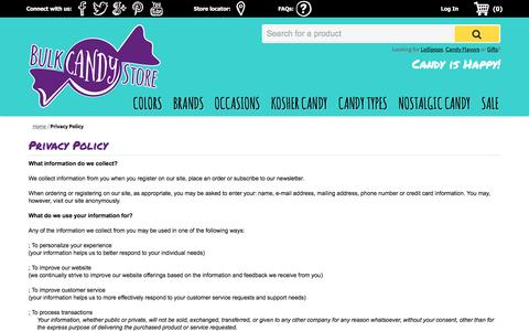 Screenshot of Privacy Page bulkcandystore.com - Privacy Policy | Bulk Candy Store - captured Jan. 7, 2016