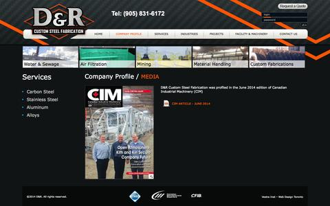 Screenshot of Press Page drsteelfab.com - D&R Custom Steel Fabricaion - captured Oct. 3, 2014