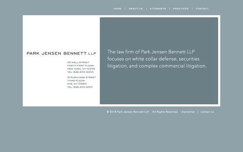 Screenshot of Home Page parkjensen.com - Home - Park Jensen Bennett LLP - captured Dec. 14, 2018