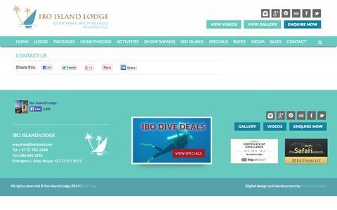 Screenshot of Contact Page iboisland.com - Contact | Ibo Island Lodge - captured Sept. 19, 2014