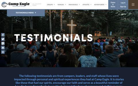 Screenshot of Testimonials Page campeagle.org - Testimonials - Camp Eagle - captured Dec. 19, 2018