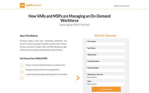Screenshot of Landing Page workmarket.com - VAR and MSP Freelance Management - WorkMarket - captured April 13, 2017