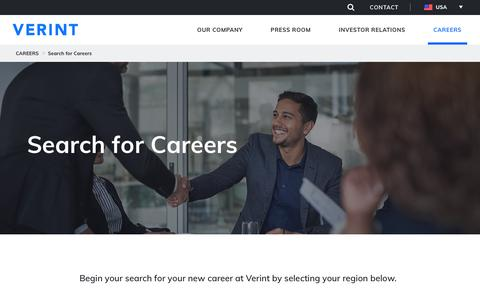 Screenshot of Jobs Page verint.com - Search for Careers - captured Dec. 15, 2017
