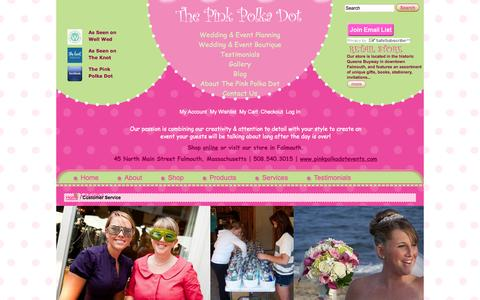 Screenshot of Support Page pinkpolkadotevents.com - Customer Service - captured Oct. 26, 2014