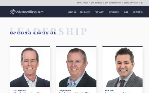 Screenshot of Team Page advancedresources.com - Our Leadership | Staffing & Consulting | Advanced Resources - captured May 22, 2018