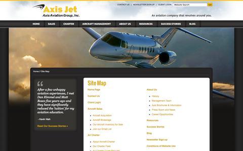 Screenshot of Site Map Page axisjet.com - Site Map - Sacramento aircraft sales, Sacramento air charter, jet, turboprop, aviation management – Axis Jet -  Axis Aviation Group - captured Sept. 30, 2014