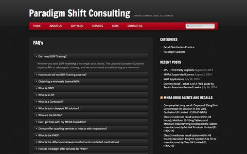 Screenshot of FAQ Page paradigmshiftconsulting.co.uk - Paradigm Shift Consulting » FAQ's - captured Oct. 1, 2014