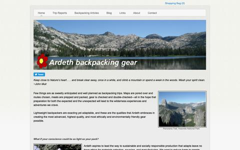 Screenshot of Home Page ardethgear.com - Ardeth backpacking gear - Home - captured Oct. 4, 2018