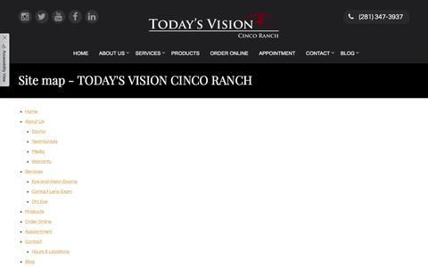 Screenshot of Site Map Page tvcincoranch.com - Site map - TODAY'S VISION CINCO RANCH - captured Oct. 26, 2017