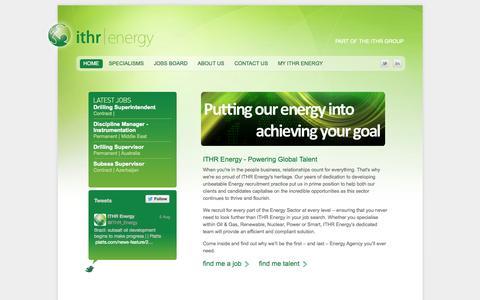 Screenshot of Home Page ithrenergy.com - Energy Jobs | Energy Recruitment  » ITHR Energy - captured Oct. 6, 2014