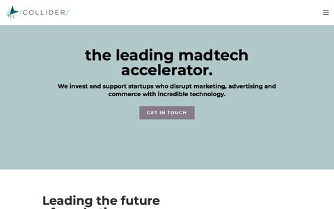 Screenshot of Home Page collider.io - Collider Accelerator — The leading Madtech accelerator - captured July 20, 2018