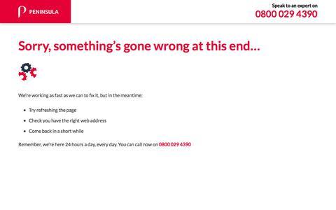 Screenshot of Testimonials Page peninsulagrouplimited.com - 500 Internal Server Error   Peninsula UK - captured Feb. 21, 2020