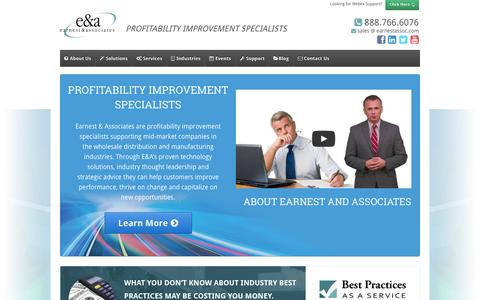 Screenshot of Home Page earnestassoc.com - Earnest & Associates | Profitability Improvement Specialists - captured Sept. 23, 2014