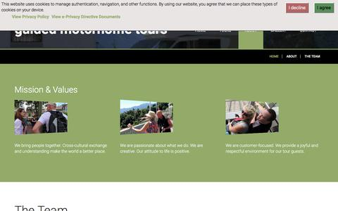 Screenshot of Team Page guidedmotorhometours.eu - Guided Motorhome Tours - The Team - captured July 12, 2017