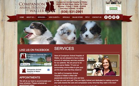 Screenshot of Services Page cahwaller.com - Veterinarian Services in Waller TX | Companion Animal Hospital of Waller - captured Aug. 19, 2017
