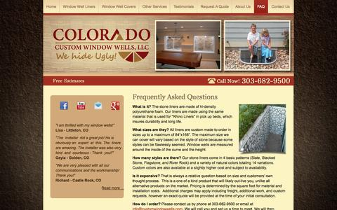 Screenshot of FAQ Page customwindowwells.com - Colorado Custom Window Wells LLC in Longmont, CO provides answers to your questions. - captured Oct. 3, 2014