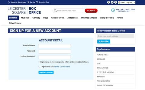 Screenshot of Signup Page lsbo.co.uk - Sign up – Leicester Square Box Office - captured Sept. 28, 2018