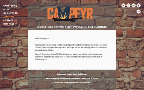 Screenshot of About Page campfyr.co - About Us — Campfyr.Co - Create Value. Build Trust. - captured Oct. 1, 2014