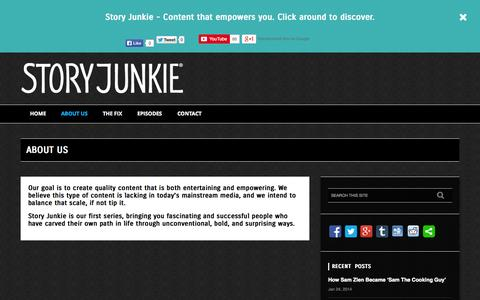 Screenshot of About Page storyjunkietv.com - Interviews with Entrepreneurs and Artists - captured Oct. 7, 2014