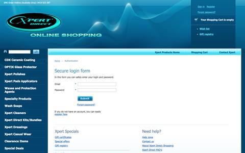 Screenshot of Login Page xpertproducts.com.au - Xpert Direct | Online Shopping for Polishes, Waxes and Cleaners - captured Oct. 19, 2018