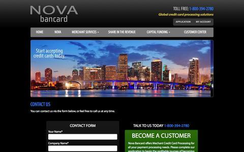 Screenshot of Contact Page novabancard.com - Credit Card Processing | NovabanCard - captured Aug. 13, 2015