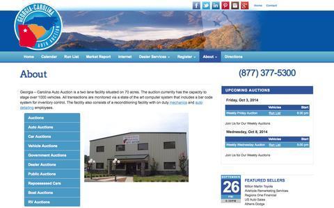 Screenshot of About Page gcautoauction.com - Georgia - Carolina Auto Auction   Auction Facility in Commerce GA - captured Oct. 2, 2014