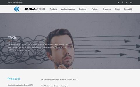Screenshot of FAQ Page boardwalktech.com - Boardwalktech | Collaborate in Excel - captured July 4, 2016
