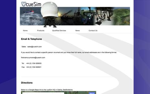 Screenshot of Contact Page Maps & Directions Page cuesim.com - cueSim Ltd - Excellence in Simulation - captured Oct. 3, 2014
