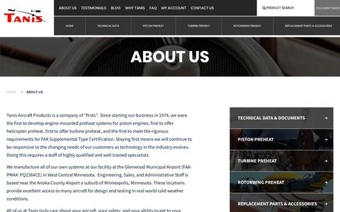 Screenshot of About Page tanisaircraft.com - About us - Tanis Aircraft Products - captured Oct. 20, 2018