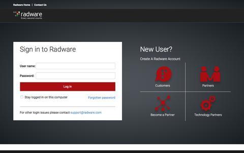 Screenshot of Login Page radware.com - Login - captured Nov. 14, 2016
