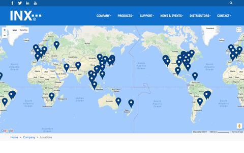 Screenshot of Locations Page inxinternational.com - Locations | INX - captured Aug. 21, 2017