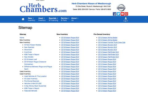 Screenshot of Site Map Page herbchambersnissanofwestborough.com - Herb Chambers Nissan of Westborough   New Inventory for sale in Westborough, MA 01581 - captured July 7, 2018