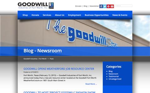 Screenshot of Press Page goodwillfortworth.org - Newsroom Archives | Goodwill Industries | Fort Worth - captured Jan. 31, 2016
