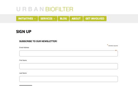 Screenshot of Signup Page urbanbiofilter.org - Urban Biofilter » Sign up - captured Oct. 9, 2014