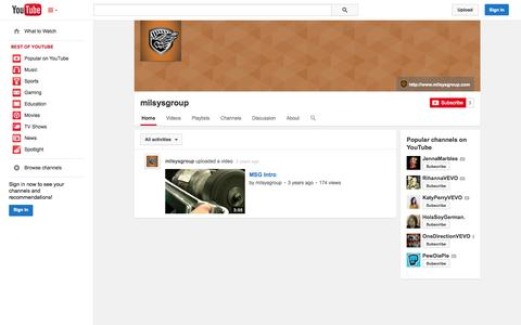 Screenshot of YouTube Page youtube.com - milsysgroup  - YouTube - captured Nov. 4, 2014