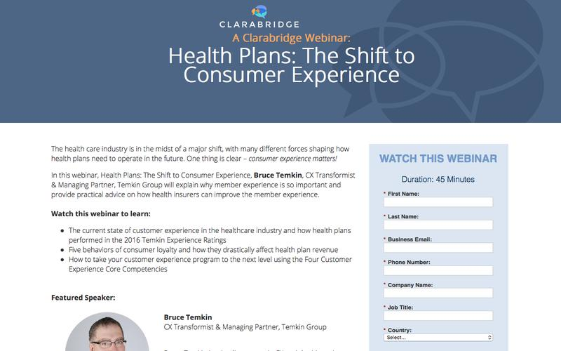 Webinar: Health Plans: The Shift to Consumer Experience