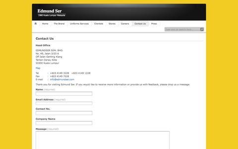 Screenshot of Contact Page edmundser.com - Contact Us | Edmund Ser - captured Sept. 29, 2014