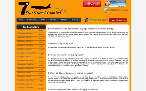 Screenshot of FAQ Page 7startravel.co.uk - Booking Terms - captured Oct. 27, 2014