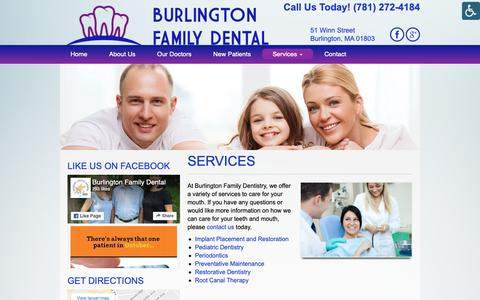 Screenshot of Services Page burlingtonfamilydental.com - Services - Burlington Family Dental | Burlington Family Dental - captured Nov. 1, 2018