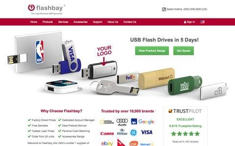 Screenshot of Home Page flashbay.com - Custom USB Flash Drives Imprinted with your Logo - captured Oct. 2, 2015