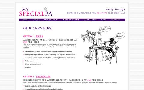 Screenshot of Services Page myspecialpa.co.uk - Our services - My Special PA - captured Oct. 7, 2014